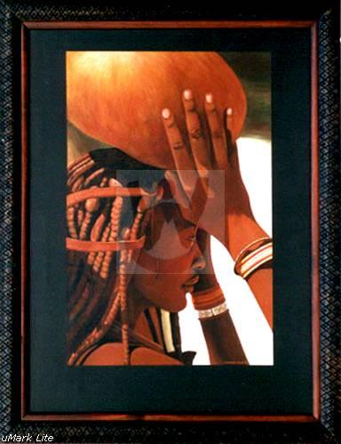 "Himba Calabash   Original Acrylic on canvas  40"" x 30"""