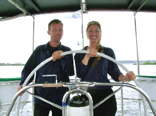 Conor Fogerty (Yacht Captain) and Laura  Beyers (Yacht Manager & Logistics Coordinator).